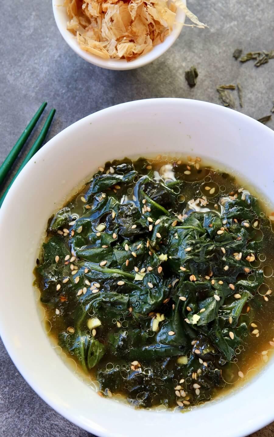 Recette Salade d'épinards et de wakamé